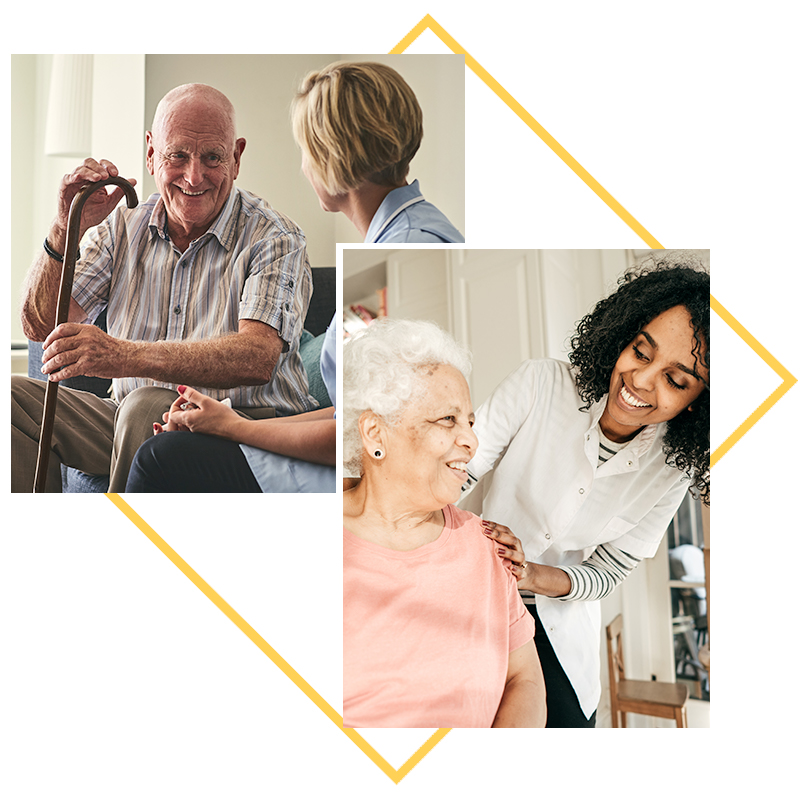 Collage of images; residents talking with nurses