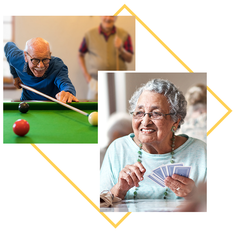 Collage of images; residents playing billiards, resident playing cards
