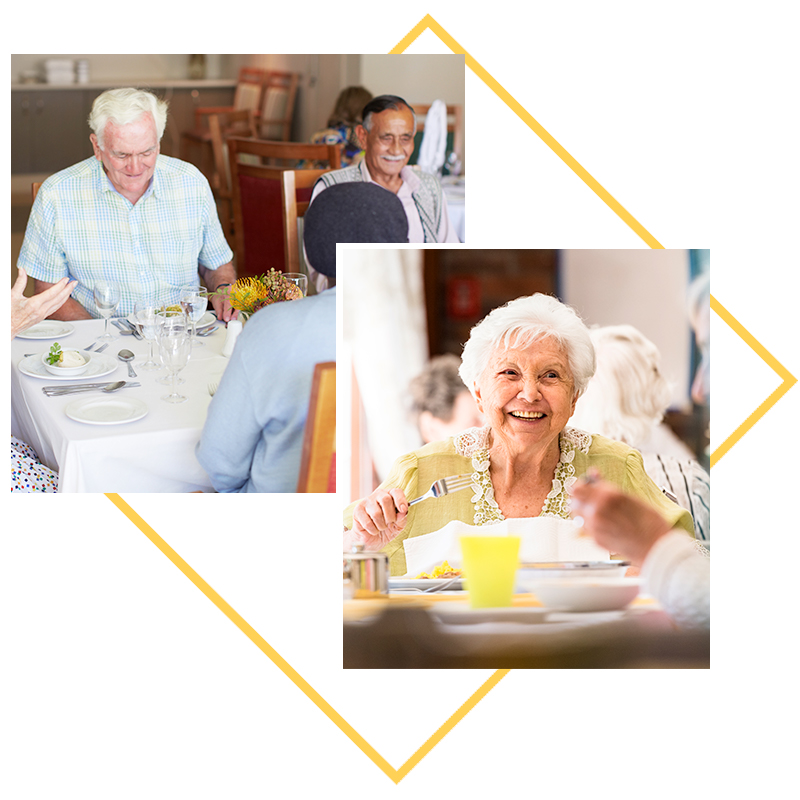 Collage of images; residents eating