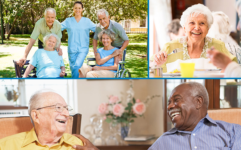 Collage of caregivers with residents