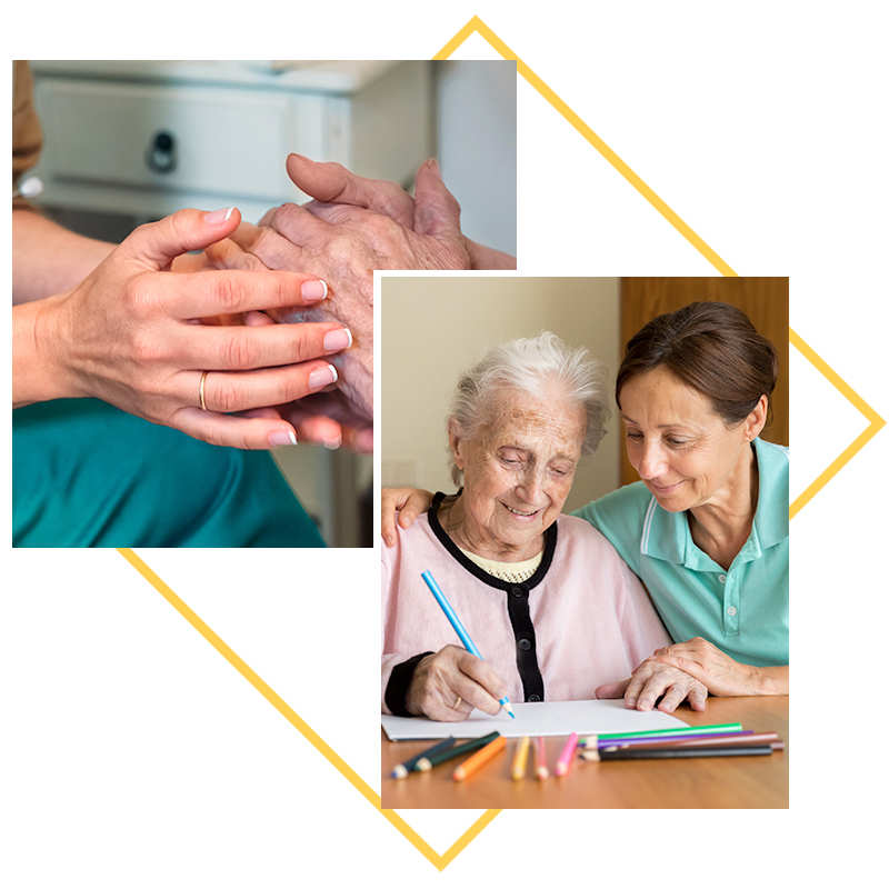 Collage of images; residents hands, residents coloring in picture with colored pencils