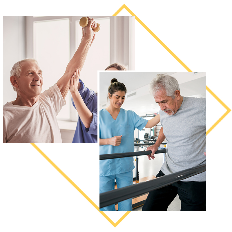 Collage of images; residents in physical therapy