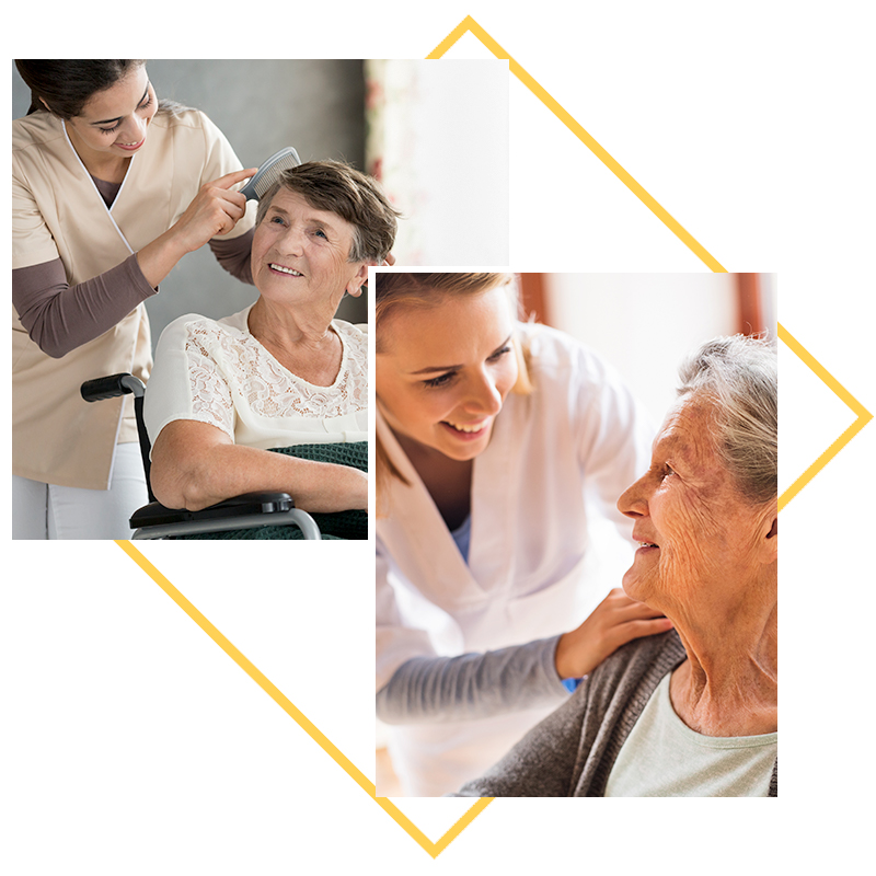 Collage of images; Nurse combing residents hair, nurse comforting resident with hand on shoulder