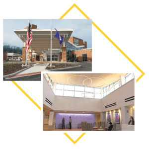 Collage of images: Outside of Shaker Place and Lobby
