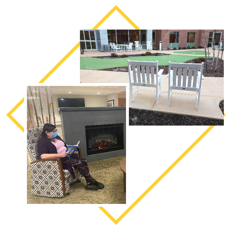 Collage of images: woman by fire, chairs in courtyard