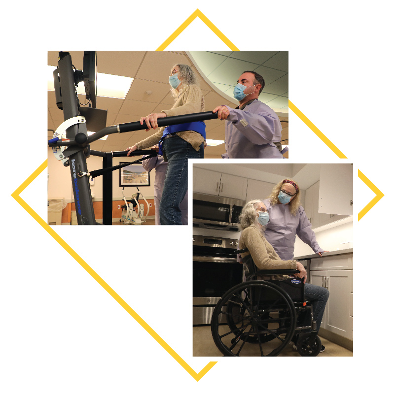 Collage of image: Woman doing rehab, woman in wheel chair with assistant