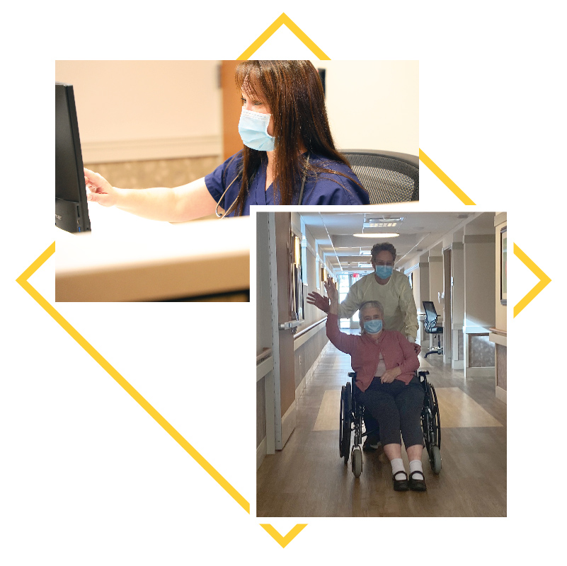 collage of images: Nurse at computer, resident in wheel chair with nurse pushing her